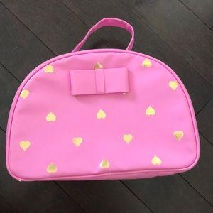 F21 Pink Heart Gold Makeup Case